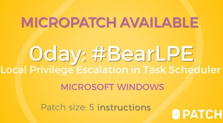 0patch released micropatch for BearLPE Zero-Day flaw in Windows 10 Task Scheduler