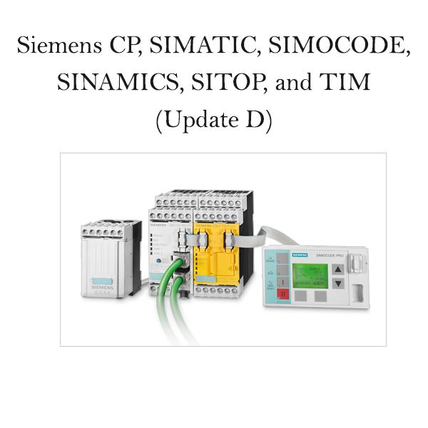 Siemens CP, SIMATIC, SIMOCODE, SINAMICS, SITOP, and TIM (Update D)
