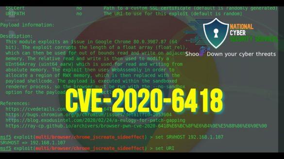 CVE 2020-6418 Type confusion in V8 in Google Chrome prior to 80.0.3987.122